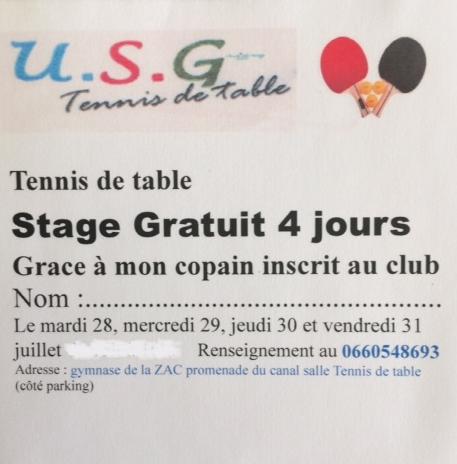 L'USG Tennis de Table ouvre ses portes